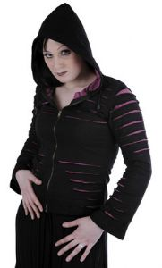 Hippy Hoodie~Gothic Hippy Rip Effect Hoodie Black Zip Up Jacket with Purple or Red Underlayer~Fair Trade by Folio Gothic Hippy 9678